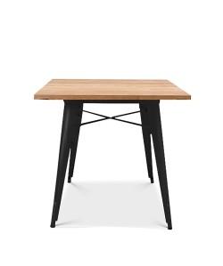 Mesa TOL, acero, negra, madera, 80x80 cms
