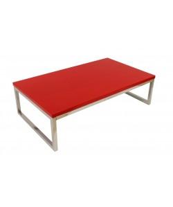 Mesa JENNIFER, baja, lacada rojo, 102x60 cms