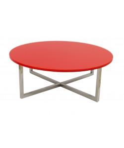Mesa JENNIFER, baja, lacada rojo, 90 cms
