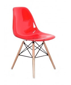 Silla TORREIFFEL, madera, policarbonato rojo transparente