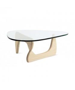 Mesa NOG, baja, madera de fresno, cristal de 19 mm. 130x93 cms