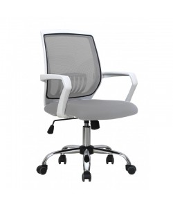 Sillón de oficina AGNEL, blanco, gas, basculante, malla y tejido gris