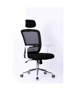 Sillón de oficina SAVONA, blanco, gas, basculante, malla y tejido negro