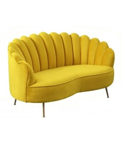 Sofá JASPER, 2 plazas, terciopelo amarillo
