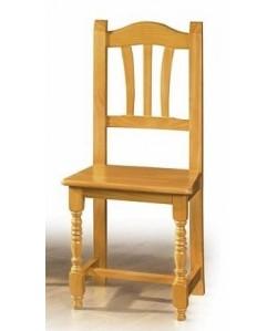 Silla de madera de pino PALMA, asiento madera barnizada.