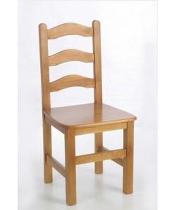 Silla de madera de pino PRIGA, asiento madera barnizada.
