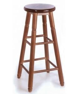 Taburete COLON, madera de chopo, asiento madera, barnizado.