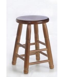 Taburete COLON, bajo, madera de pino, asiento madera, barnizado.