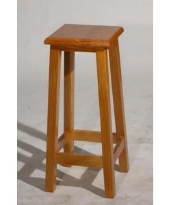 Taburete LEDO, madera de pino, asiento madera, barnizado.