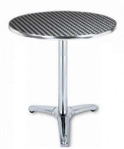 Mesa de aluminio ATLAS, tapa inoxidable 60 cms. diámetro