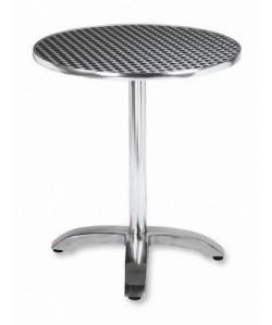 Mesa de aluminio ROMEO, tapa 70 cms. inoxidable repulsada.