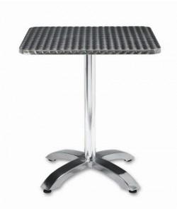 Mesa de aluminio ROMEO, tapa 60x60 cms. inoxidable repulsada.