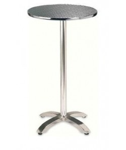 Mesa alta ROMEO, aluminio, tapa inoxidable de 60 cms