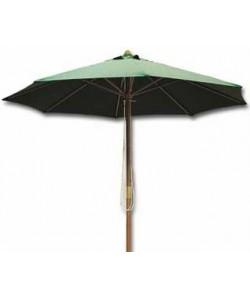 Parasol de 200 cms, mástil de madera, 6 varillas, loneta en dos colores