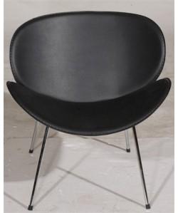 Sillón de diseño NEBRO, cromado, tapizado negro.*