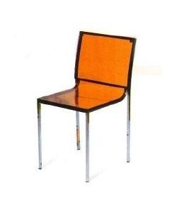 Silla de diseño DENER, cromada, policarbonato naranja