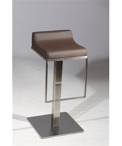 Taburete MOE, acero inoxidable, asiento tapizado similpiel