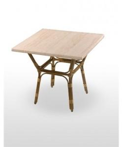 Mesa de hostelería BARDOS, aluminio dark bamboo, tapa werzalit estándar de 80 cms.