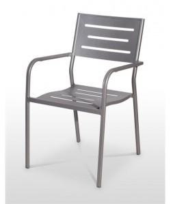 Sillón de aluminio ANDALUZ, aplilable, color gris.