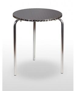 Mesa de aluminio CASAS 1, tapa inoxidable 60 cms.