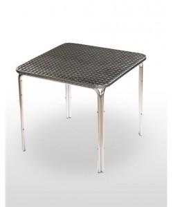 Mesa de aluminio PULCO, tapa inoxidable 80x80 cms.