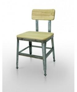 Silla BRATIO, acero, asiento madera.