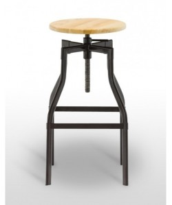 Taburete SOCHE, metal, asiento madera.