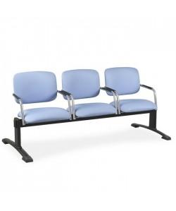 Bancada Anubis, 3 plazas, brazos, asiento y respaldo tapizado.