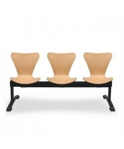 Bancada Venus, 3 plazas, asiento y respaldo madera.