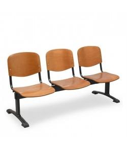 Bancada Aries, 3 plazas, asiento y respaldo madera.