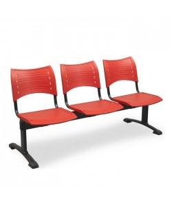 Bancada Acuario, 3 plazas, asiento y respaldo PVC.