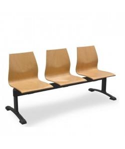 Bancada JUPITER-A, 3 plazas, asiento y respaldo madera.