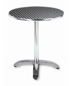 Mesa de aluminio ROMEO, tapa 60 cms. inoxidable repulsada.