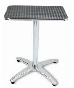 Mesa de aluminio ATLAS, tapa inoxidable 80x80 cms.