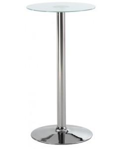 Mesa 0656995 alta, acero inoxidable y cristal. 60 cms.