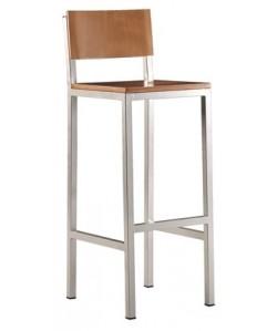 Taburete 0655705, epoxi aluminio, asiento y respaldo madera estratifica color a elegir