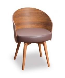 Sillón 0652025, pata madera,carcasa estractificado, asiento polipiel