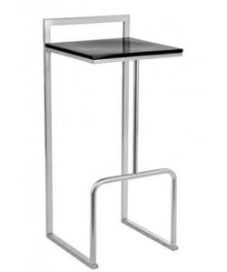 Taburete 0655965, epoxi aluminio, asiento madera lacada estratificado