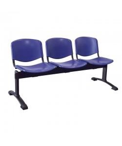 Bancada Mod. NIZA, 3 plazas, asiento y respaldo plástico. 3 colores a elegir