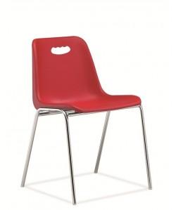 Silla fija, Vicenza-H, monoblock, cromada, roja