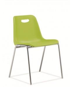 Silla fija, Vicenza-H, monoblock, cromada, verde