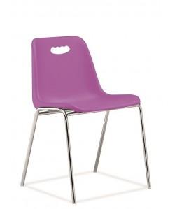 Silla fija, Vicenza-H, monoblock, cromada, violeta