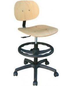 Taburete WORK 12, gas, asiento y respaldo de madera
