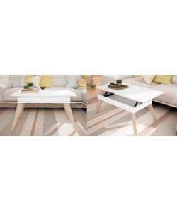 Mesa ARGOS, tapa elevable, patas madera haya, tapa melamina 100x55 cms