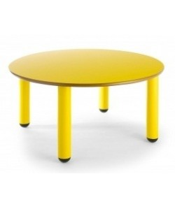 Mesa redonda 406, de 120 cms. de diametro, altura 46 o 52 cms.