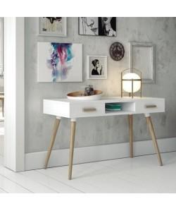 Mesa de escritorio NANTES, patas madera, tapa madera lacada blanco satinado