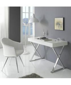 Mesa de escritorio LILLE, patas cromadas, madera lacada alto brillo.