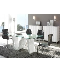 Mesa de comedor LOVAINA, estructura lacada blanco, tapa de cristal.