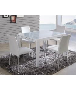 Mesa de comedor MALINAS, extensible, acero y cristal blanco