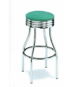 Taburete Rf. 3155515, cromado, asiento madera